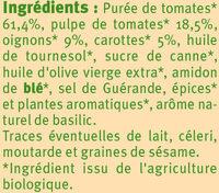 Sauce provencale au légumes Bio - Ingrédients - fr
