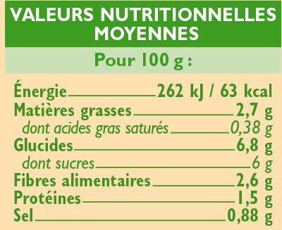 Sauce provencale au légumes Bio - Informations nutritionnelles - fr