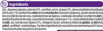 Sauce curry épicée - Ingrédients - fr