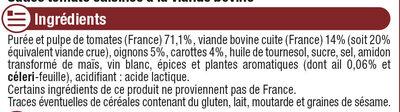 Sauce bolognaise - Ingrédients - fr