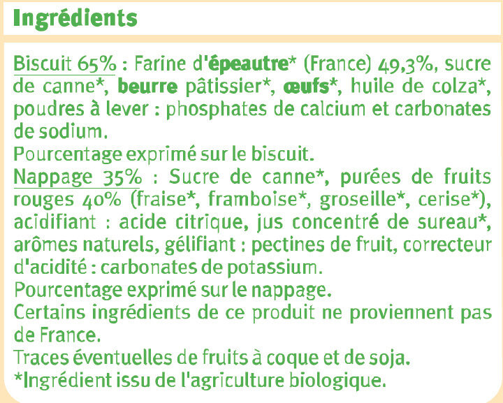 Tartelette fruits rouges et farine épéautre - Ingrédients
