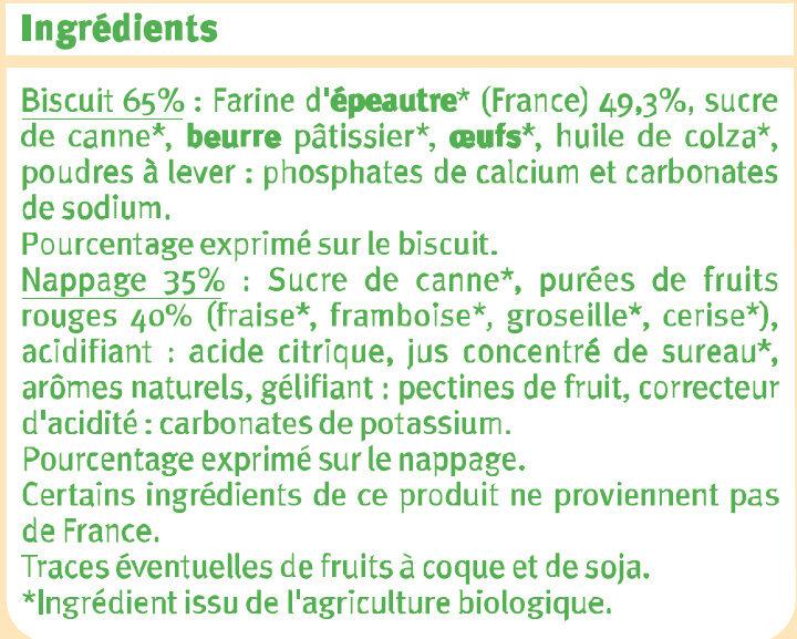 Tartelette fruits rouges et farine épéautre - Ingredients - fr