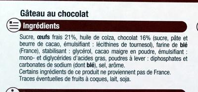 Gâteau au chocolat - Ingrédients