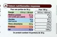 Gâteau au chocolat - Informations nutritionnelles