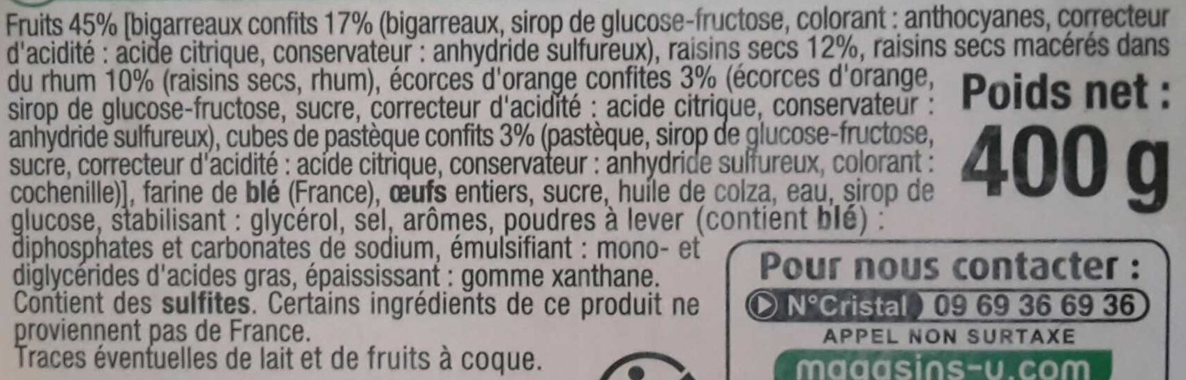 Cake anglais - Ingredients - fr