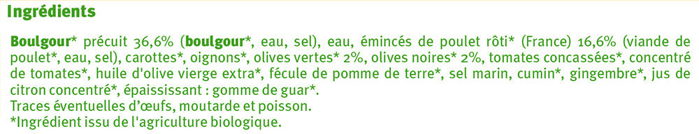 Poulet aux olives et boulgour - Inhaltsstoffe