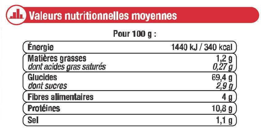 Préparation pour pâte à pizza - Informations nutritionnelles - fr