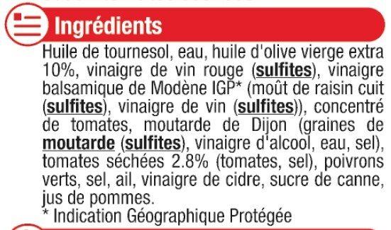 Sauce vinaigrette à l'huile d'olive 10% et aux tomates séchées - Ingrédients - fr