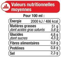Sauce vinaigrette à l'huile d'olive 10% et aux tomates séchées - Informations nutritionnelles - fr