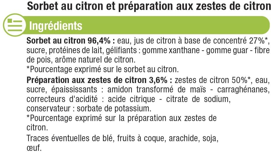 Sorbet au citron - Ingrédients - fr