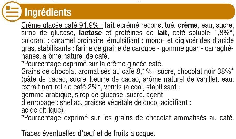 Glace au café avec grains de chocolat - Ingrédients - fr