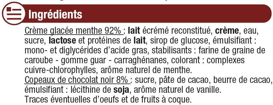 Crème glacée menthe chocolat - Ingrediënten