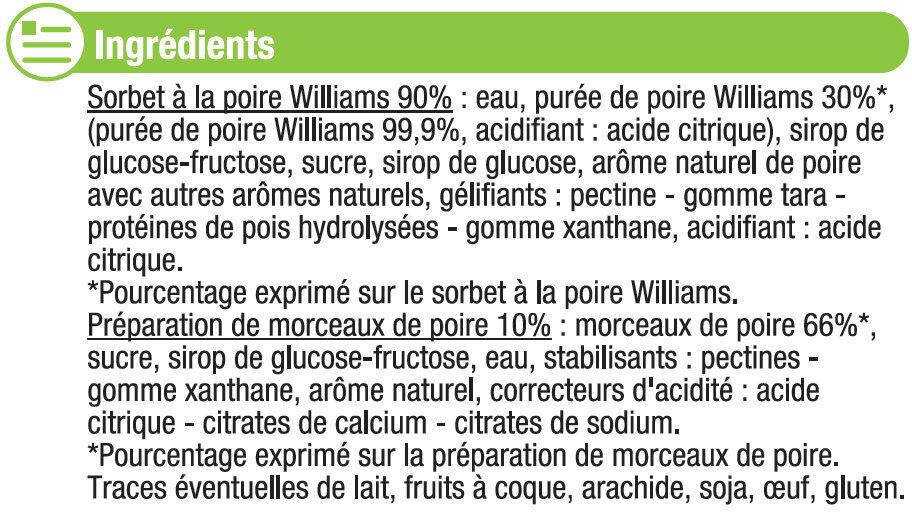 Sorbet poire - Ingrédients