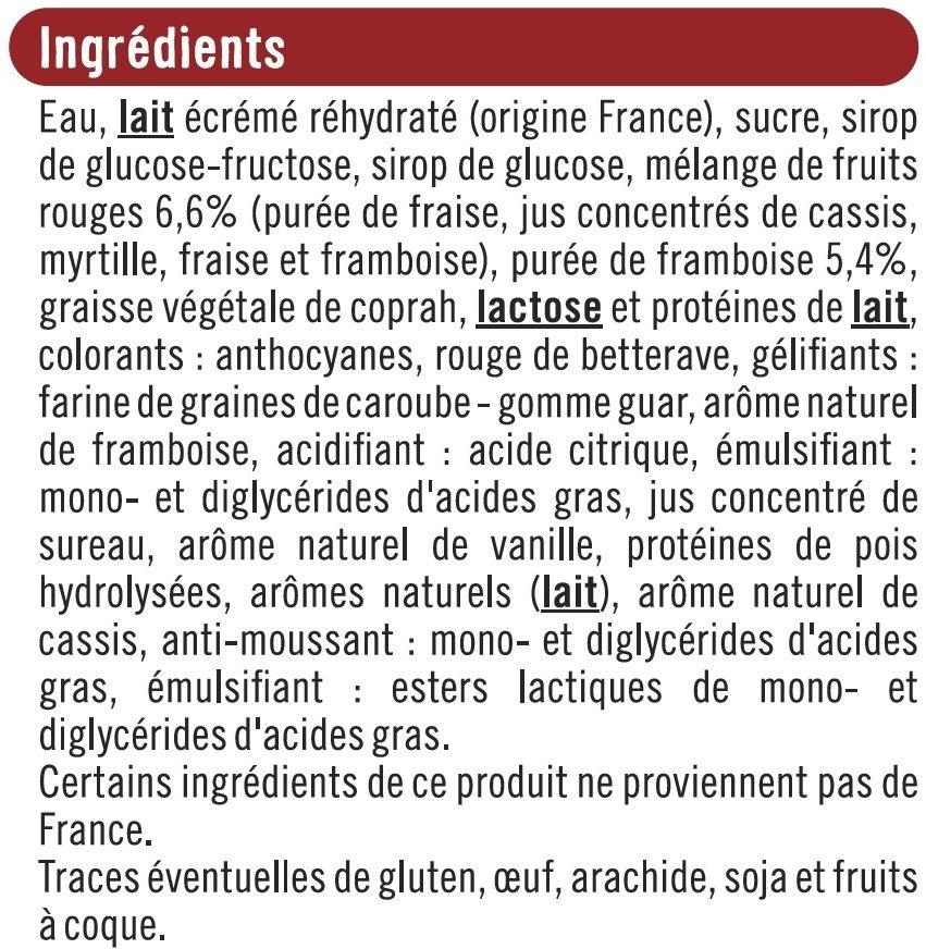 Bâtonnets envie de glace vanille marbrée sorbet framboise - Ingredients