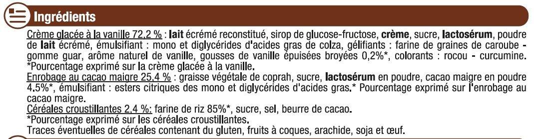 Bâtonnets vanille avec céréales crousitllantes - Ingredients - fr