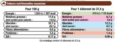 Bâtonnets vanille - Informations nutritionnelles
