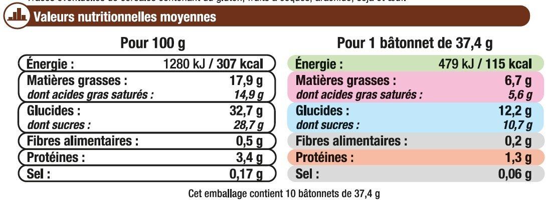 Bâtonnets vanille avec céréales crousitllantes - Nutrition facts - fr