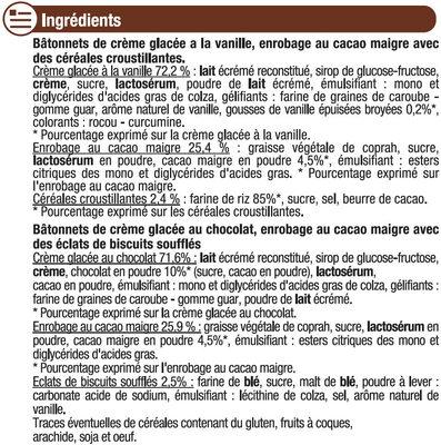 Bâtonnets vanille et chocolat - Ingredients