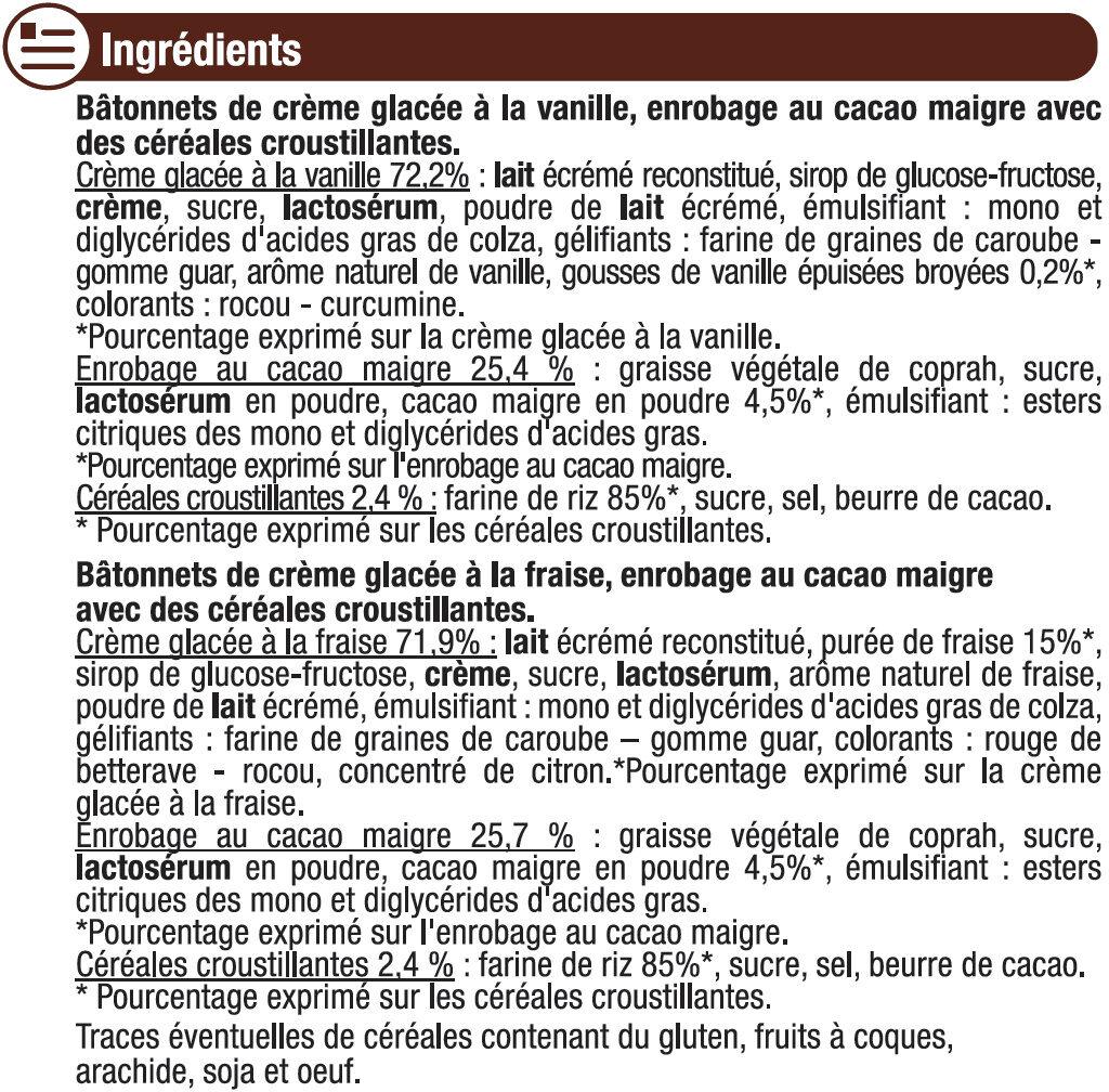 Bâtonnets Vanille et Fraise - Ingredients