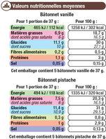 Bâtonnets Vanille Pistache - Informations nutritionnelles