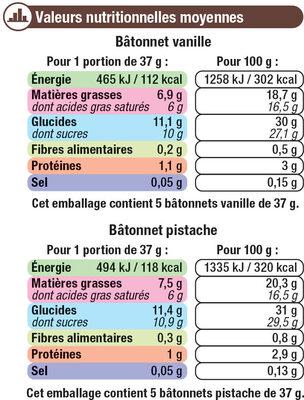 Bâtonnets Vanille Pistache - Nutrition facts - fr
