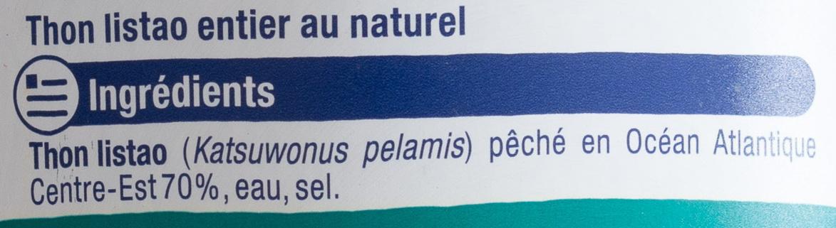 Thon entier au Naturel, Pêché à la canne - Ingrediënten
