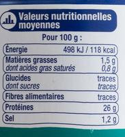 Thon entier au Naturel, Pêché à la canne - Nutrition facts