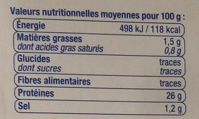 Thon entier au naturel pêché à la canne - Nutrition facts