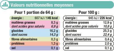 Feuilleté glacé menthe chocolat - Informations nutritionnelles - fr
