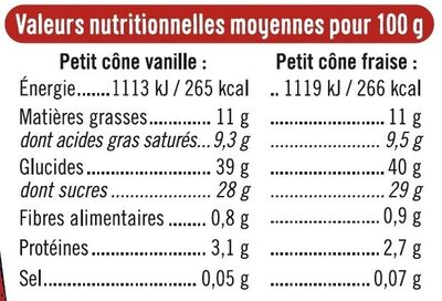Petits cônes vanille fraise - Nutrition facts - fr