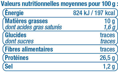 Miettes de thon à l'huile d'olive pêché à la ligne - Valori nutrizionali - fr