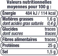 Thon en tranche au naturel pêché canne - Informations nutritionnelles