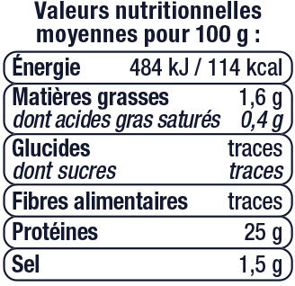 Thon en tranche au naturel pêché à la ligne - Valori nutrizionali - fr