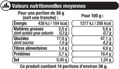 Pain de mie gourmand céréales - Informations nutritionnelles - fr