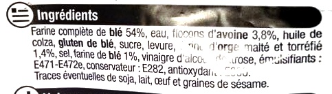 Pain de mie gourmand complet - Ingredients