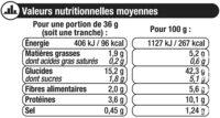 Pain de mie gourmand complet - Informations nutritionnelles