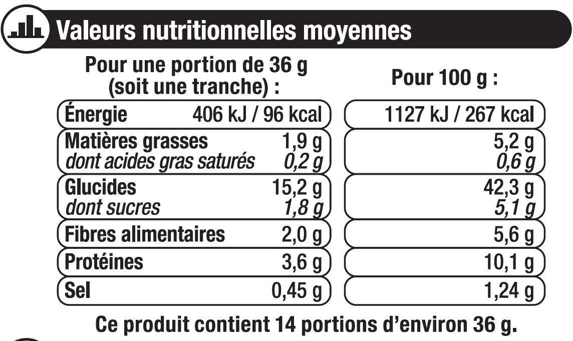 Pain de mie gourmand complet - Informations nutritionnelles - fr