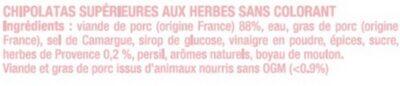 Chipolata sans colorant aux herbes - Ingrediënten