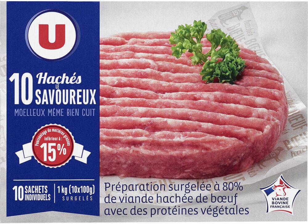 Préparation surgelée à base de 80% de viande hachée de boeuf avec desprotéines végétales - Produit - fr