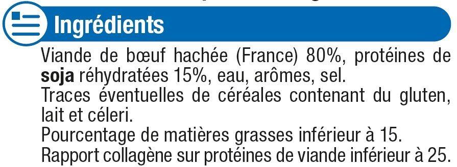 Préparation surgelée à base de 80% de viande hachée de boeuf avec desprotéines végétales - Ingrédients - fr