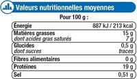 Préparation surgelée à base de 80% de viande hachée de boeuf avec desprotéines végétales - Informations nutritionnelles - fr