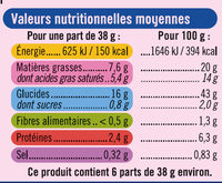 Pâte feuilletée au beurre prête à dérouler - Informations nutritionnelles