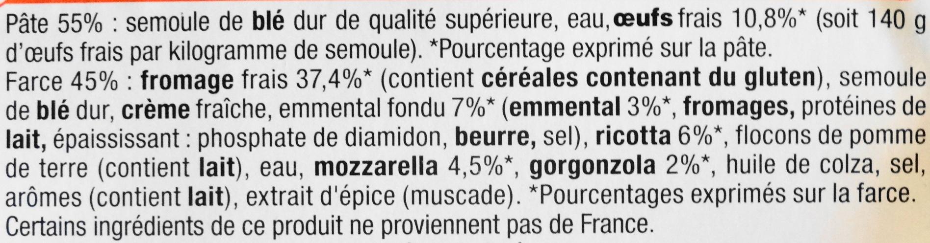 Ravioli, aux oeufs frais,  5 fromages - Ingredients - fr