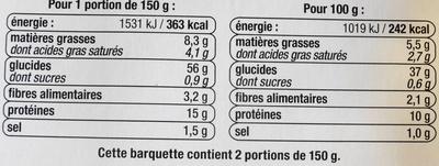 Ravioli, aux oeufs frais,  5 fromages - Nutrition facts - fr