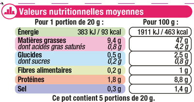 Tarama aux ufs de cabillaud - Voedingswaarden - fr
