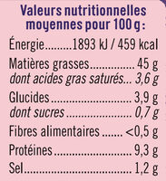 Tarama Au Saumon Fumé - Voedingswaarden - fr