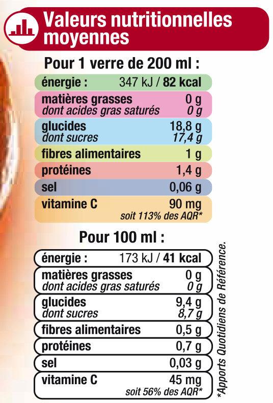 Pur jus d'oranges sanguines pressées - Nutrition facts - fr