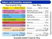Yaourts nature - Informations nutritionnelles - fr