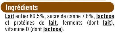Yaourts nature sucrés - Ingrediënten