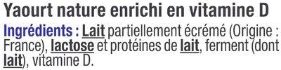 Yaourt nature - Ingrediënten - fr